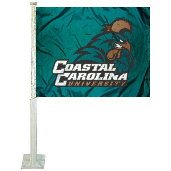 Coastal Carolina Chanticleers Car Window Flag measures 12x15 inches, is constructed of sturdy 2 ply polyester, and has dye sublimated school logos which are readable and viewable correctly on both sides. Coastal Carolina Chanticleers Car Window Flag is officially licensed by the NCAA and selected university.