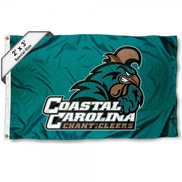 Coastal Carolina Chanticleers Small 2'x3' Flag measures 2x3 feet, is made of 100% polyester, offers quadruple stitched flyends, has two brass grommets, and offers printed Coastal Carolina Chanticleers logos, letters, and insignias. Our 2x3 foot flag is Officially Licensed by the selected university.