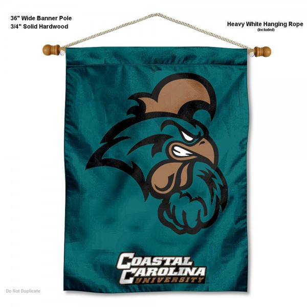 "Coastal Carolina Chanticleers Wall Banner is constructed of polyester material, measures a large 30""x40"", offers screen printed athletic logos, and includes a sturdy 3/4"" diameter and 36"" wide banner pole and hanging cord. Our Coastal Carolina Chanticleers Wall Banner is Officially Licensed by the selected college and NCAA."