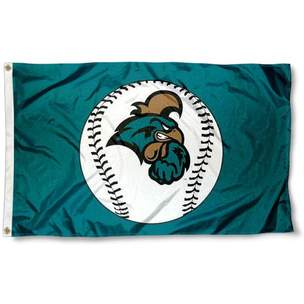 Coastal Carolina University Baseball Flag measures 3'x5', is made of 100% poly, has quadruple stitched sewing, two metal grommets, and has double sided Team University logos. Our Coastal Carolina University Baseball Flag is officially licensed by the selected university and the NCAA.