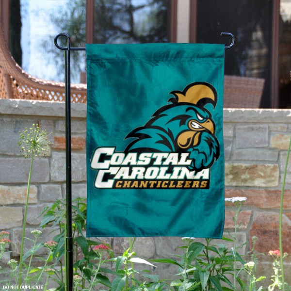 Our double sided Coastal Carolina University Garden Flag is 13x18 inches in size, is constructed of 3-ply polyester with liner, and has screen printed University insignias and lettering. The Coastal Carolina University Garden Flag is licensed by the selected university and garden flags are perfect for your garden, entranceway, mailbox, or window.