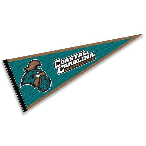 Coastal Carolina University Pennant consists of our full size sports pennant which measures 12x30 inches, is constructed of felt, is single sided imprinted, and offers a pennant sleeve for insertion of a pennant stick, if desired. This CCU Chanticleers Pennant Decorations is Officially Licensed by the selected university and the NCAA.