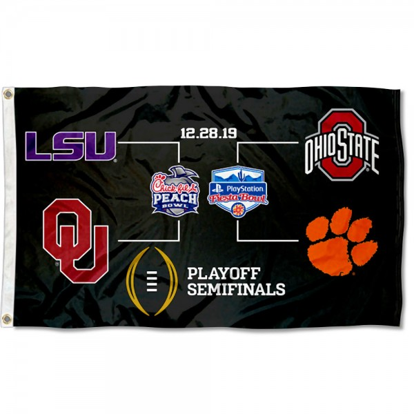 College Football CFP Playoff Game Flag measures 3x5 feet, is made of 100% polyester, offers quadruple stitched flyends, has two metal grommets, and offers screen printed NCAA team logos and insignias. Our College Football CFP Playoff Game Flag is officially licensed by the selected university and NCAA.