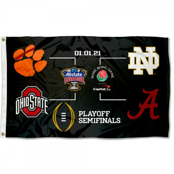 College Football Playoff 2020 Bracket Flag measures 3x5 feet, is made of 100% polyester, offers quadruple stitched flyends, has two metal grommets, and offers screen printed NCAA team logos and insignias. Our College Football Playoff 2020 Bracket Flag is officially licensed by the selected university and NCAA.