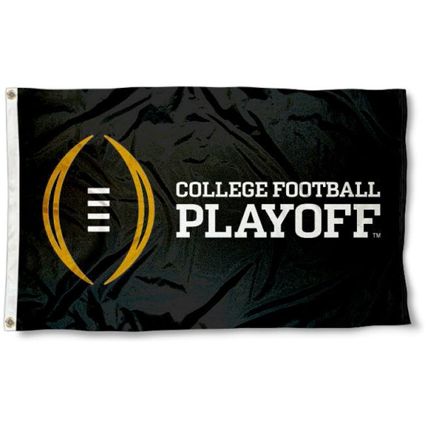 College Football Playoff Flag measures 3'x5', is made of 100% poly, has quadruple stitched sewing, two metal grommets, and has double sided logos. Our College Football Playoff Flag is officially licensed by the NCAA.