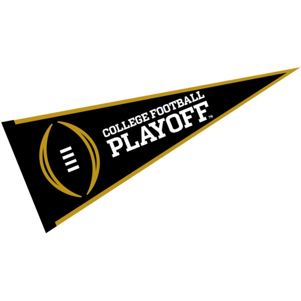 College Football Playoff Pennant measures 12x30 inches, is made of felt blends, has a sewn sleeve for insertion of a pennant stick, and the NCAA team logos are single-sided screen printed. Our College Football Playoff Pennant is officially licensed by the NCAA and the selected school university.