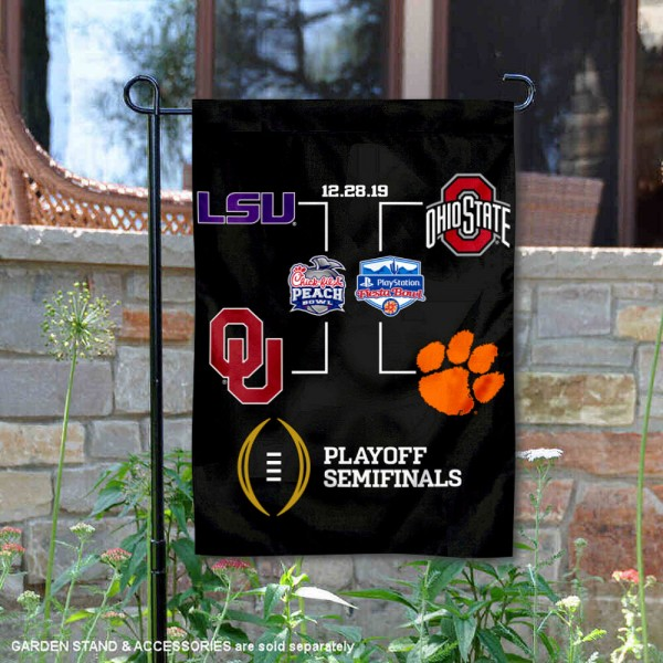 College Football Semifinals Bracket Garden Flag is 13x18 inches in size, is made of 2-layer polyester, screen printed university athletic logos and lettering, and is readable and viewable correctly on both sides. Available same day shipping, our College Football Semifinals Bracket Garden Flag is officially licensed and approved by the university and the NCAA.