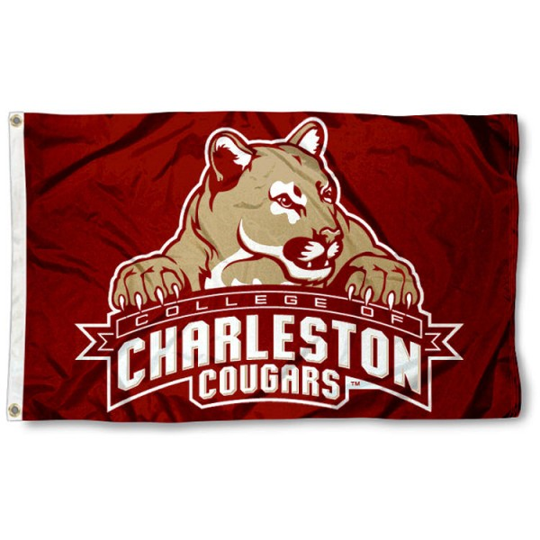 This College of Charleston Cougars Flag measures 3'x5', is made of 100% nylon, has quad-stitched sewn flyends, and has two-sided College of Charleston Cougars printed logos. Our College of Charleston Cougars Flag is officially licensed and all flags for College of Charleston Cougars are approved by the NCAA and Same Day UPS Express Shipping is available.