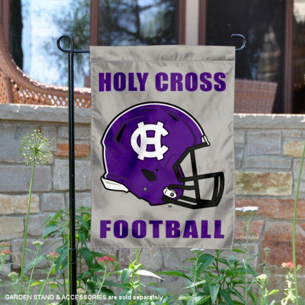 College of Holy Cross Football Helmet Garden Banner is 13x18 inches in size, is made of 2-layer polyester, screen printed College of Holy Cross athletic logos and lettering. Available with Same Day Express Shipping, Our College of Holy Cross Football Helmet Garden Banner is officially licensed and approved by College of Holy Cross and the NCAA.