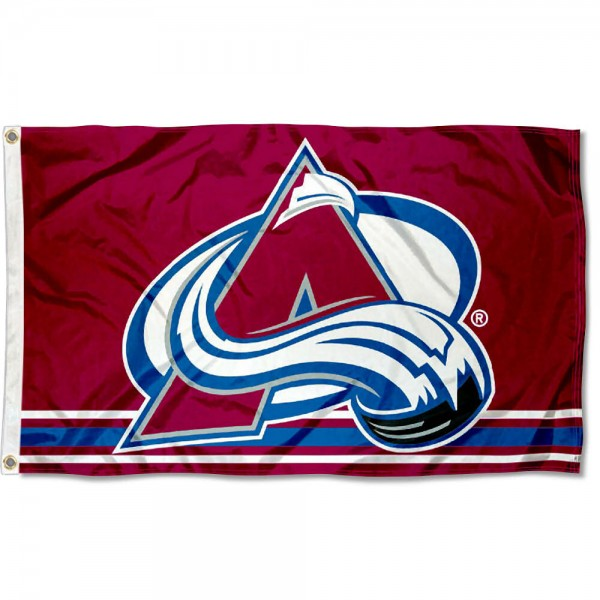 The Colorado Avalanche Flag is four-stitched bordered, double sided, made of poly, 3'x5', and has two grommets. These Colorado Avalanche Flags are NHL Genuine Merchandise.