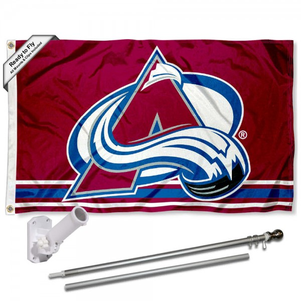 Our Colorado Avalanche Flag Pole and Bracket Kit includes the flag as shown and the recommended flagpole and flag bracket. The flag is made of polyester, has quad-stitched flyends, and the NHL Licensed team logos are double sided screen printed. The flagpole and bracket are made of rust proof aluminum and includes all hardware so this kit is ready to install and fly.