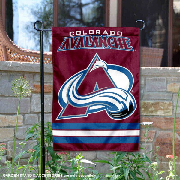 Colorado Avalanche Garden Flag is 12.5x18 inches in size, is made of 2-ply polyester, and has two sided screen printed logos and lettering. Available with Express Next Day Ship, our Colorado Avalanche Garden Flag is NHL Officially Licensed and is double sided.