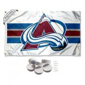 Colorado Avalanche White Banner Flag with Tack Wall Pads
