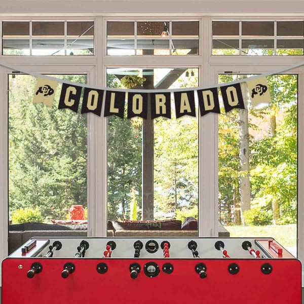Colorado Buffaloes Small Banner String Pennant Flags are 8 feet in total length, are made of thick felt polyester, includes 4x6 inch banner streamers, and the logos are screen printed one one side. Each is Offically Licensed.