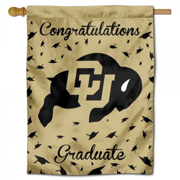 Colorado Buffaloes Congratulations Graduate Flag measures 30x40 inches, is made of poly, has a top hanging sleeve, and offers dye sublimated Colorado Buffaloes logos. This Decorative Colorado Buffaloes Congratulations Graduate House Flag is officially licensed by the NCAA.