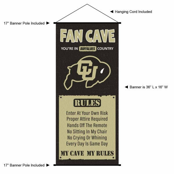 """This """"ready to hang"""" Colorado Buffaloes Fan Cave Man Cave Banner Scroll is made of polyester material, measures a large 17"""" x 36"""", offers screen printed athletic logos, and includes both top and bottom 3/4"""" diameter plastic banner poles and hanging cord. Our Colorado Buffaloes D�cor and Banner is Officially Licensed by the selected college and NCAA."""