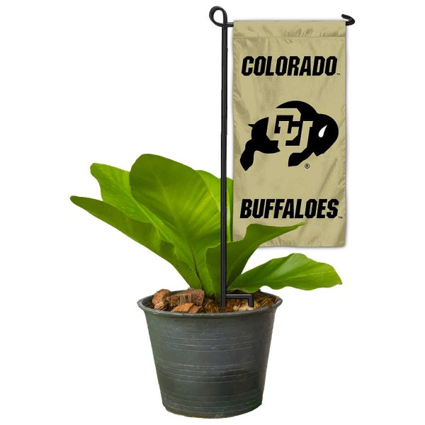 "Colorado Buffaloes Flower Pot Topper Flag kit includes our 4""x8"" mini garden banner and 6"" x 14"" mini garden banner stand. The mini flag is made of 1-ply polyester, has screen printed logos and the garden stand is made of steel and powder coated black. This kit is NCAA Officially Licensed by the selected college or university."