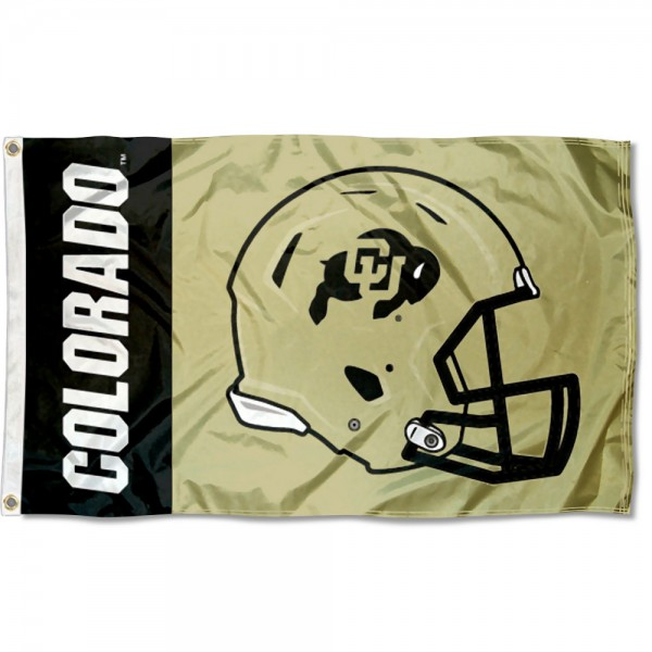 Colorado Buffaloes Football Helmet Flag measures 3x5 feet, is made of 100% polyester, offers quadruple stitched flyends, has two metal grommets, and offers screen printed NCAA team logos and insignias. Our Colorado Buffaloes Football Helmet Flag is officially licensed by the selected university and NCAA.