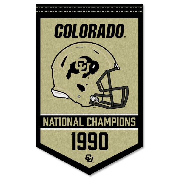 Colorado Buffaloes Football National Champions Banner consists of our sports dynasty year banner which measures 15x24 inches, is constructed of rigid felt, is single sided imprinted, and offers a pennant sleeve for insertion of a pennant stick, if desired. This sports banner is a unique collectible and keepsake of the legacy game and is Officially Licensed and University, School, and College Approved.