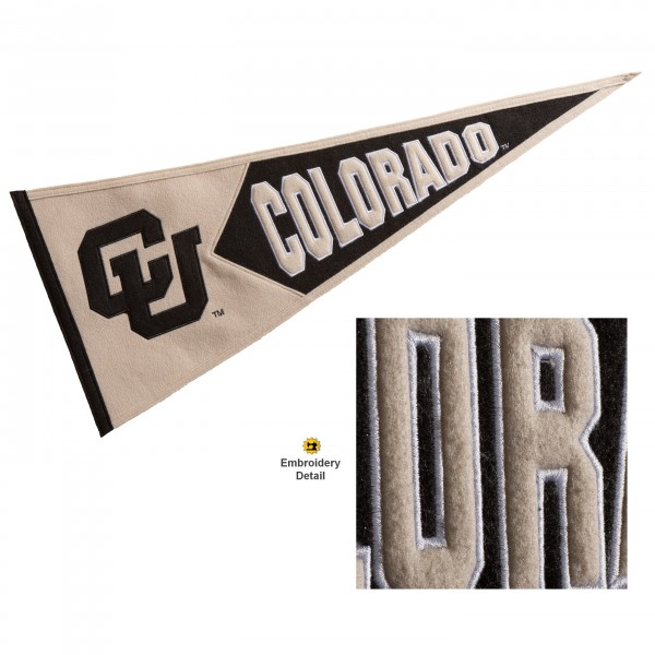 Colorado Buffaloes Genuine Wool Pennant consists of our full size 13x32 inch Winning Streak Sports wool college pennant. The logos, lettering and insignia is quality embroidered and appliqued, feature a alternate logo color header, and has sewn wool perimeter. This Colorado Buffaloes College Pennant Pennant is Officially Licensed and University Approved with Overnight Next Day Shipping.