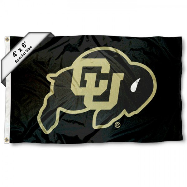 Colorado Buffaloes Large 4x6 Flag measures 4x6 feet, is made thick woven polyester, has quadruple stitched flyends, two metal grommets, and offers screen printed NCAA Colorado Buffaloes Large athletic logos and insignias. Our Colorado Buffaloes Large 4x6 Flag is officially licensed by Colorado Buffaloes and the NCAA.
