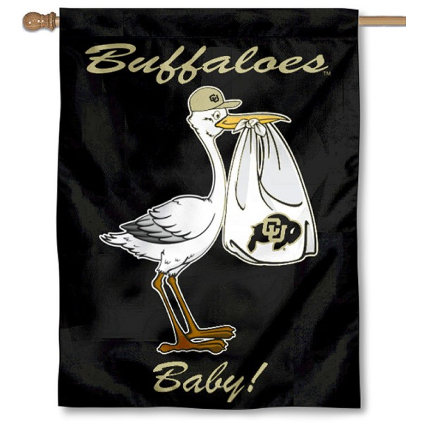 Colorado Buffaloes New Baby Flag measures 30x40 inches, is made of poly, has a top hanging sleeve, and offers dye sublimated Colorado Buffaloes logos. This Decorative Colorado Buffaloes New Baby House Flag is officially licensed by the NCAA.