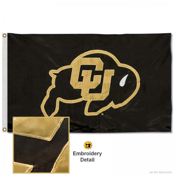 Colorado Buffaloes Nylon Embroidered Flag measures 3'x5', is made of 100% nylon, has quadruple flyends, two metal grommets, and has double sided appliqued and embroidered University logos. These Colorado Buffaloes 3x5 Flags are officially licensed by the selected university and the NCAA.