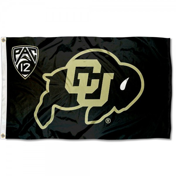 Colorado Buffaloes Pac 12 Flag measures 3'x5', is made of 100% poly, has quadruple stitched sewing, two metal grommets, and has double sided Team University logos. Our Colorado Buffaloes Pac 12 Flag is officially licensed by the selected university and the NCAA.