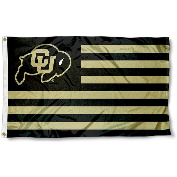 Colorado Buffaloes Striped Flag measures 3'x5', is made of polyester, offers quadruple stitched flyends for durability, has two metal grommets, and is viewable from both sides with a reverse image on the opposite side. Our Colorado Buffaloes Striped Flag is officially licensed by the selected school university and the NCAA