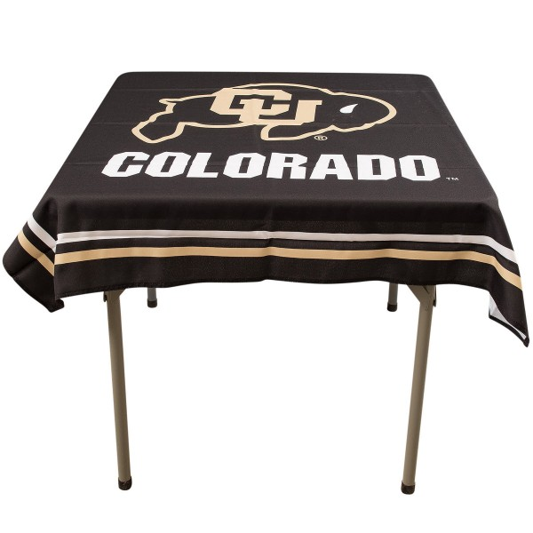 Colorado Buffaloes Table Cloth measures 48 x 48 inches, is made of 100% Polyester, seamless one-piece construction, and is perfect for any tailgating table, card table, or wedding table overlay. Each includes Officially Licensed Logos and Insignias.