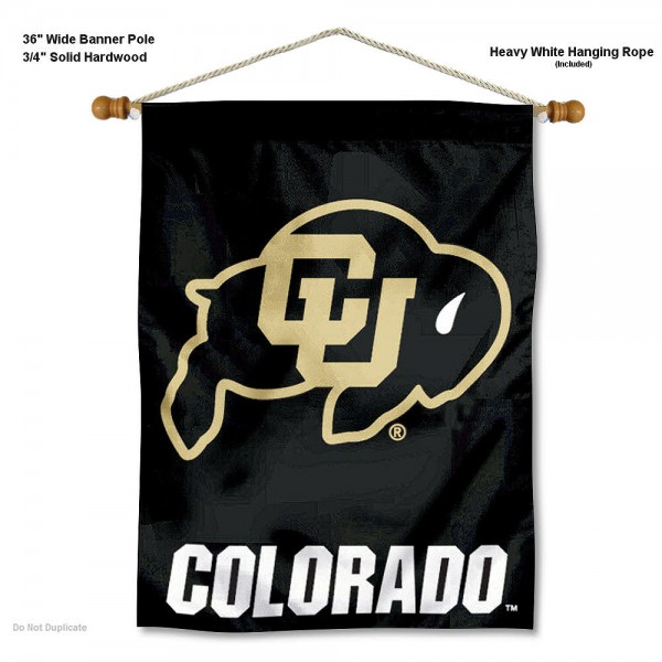"Colorado Buffaloes Wall Banner is constructed of polyester material, measures a large 30""x40"", offers screen printed athletic logos, and includes a sturdy 3/4"" diameter and 36"" wide banner pole and hanging cord. Our Colorado Buffaloes Wall Banner is Officially Licensed by the selected college and NCAA."