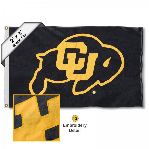 Colorado Buffs Small 2'x3' Flag measures 2x3 feet, is made of 100% nylon, offers quadruple stitched flyends, has two brass grommets, and offers embroidered Colorado Buffs logos, letters, and insignias. Our Colorado Buffs Small 2'x3' Flag is Officially Licensed by the selected university.