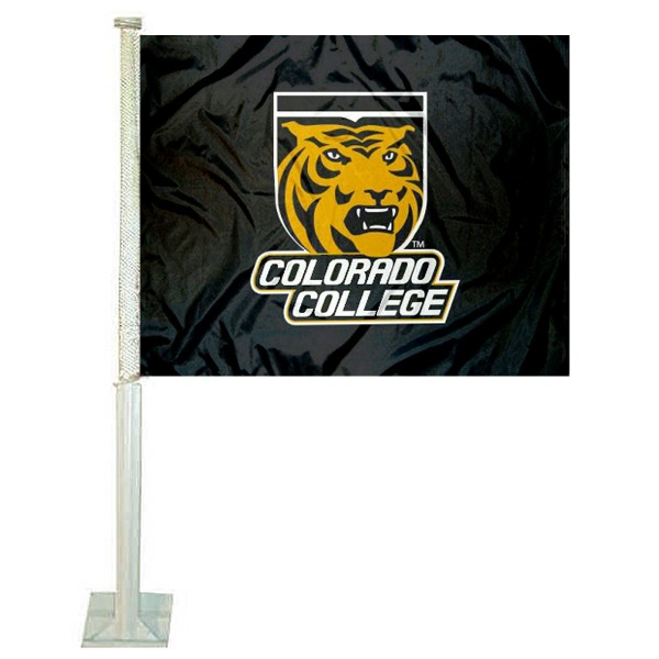 Colorado College Tigers Car Window Flag measures 12x15 inches, is constructed of sturdy 2 ply polyester, and has dye sublimated school logos which are readable and viewable correctly on both sides. Colorado College Tigers Car Window Flag is officially licensed by the NCAA and selected university.