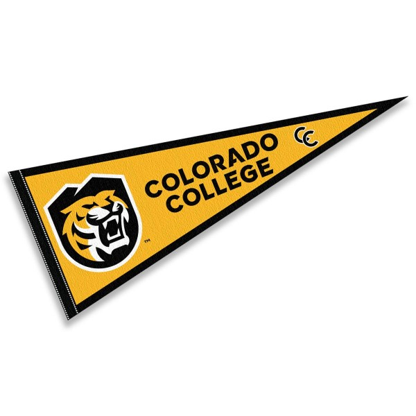 Colorado College Tigers Pennant consists of our full size sports pennant which measures 12x30 inches, is constructed of felt, is single sided imprinted, and offers a pennant sleeve for insertion of a pennant stick, if desired. This Colorado College Tigers Pennant Decorations is Officially Licensed by the selected university and the NCAA.
