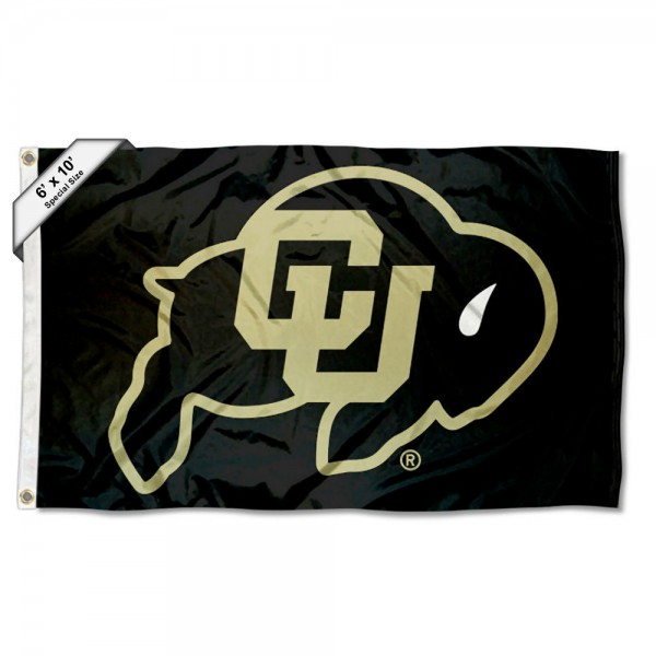 Colorado CU Buffaloes Black 6'x10' Flag measures 6x10 feet, is made of thick poly, has quadruple-stitched fly ends, and Colorado CU Buffaloes logos are screen printed into the Colorado CU Buffaloes Black 6'x10' Flag. This Colorado CU Buffaloes Black 6'x10' Flag is officially licensed by and the NCAA.