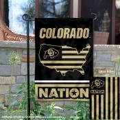 Colorado CU Buffaloes Garden Flag with USA Country Stars and Stripes