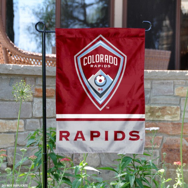 Colorado Rapids Garden Flag is 12.5x18 inches in size, is made of 2-ply polyester, and has two sided screen printed logos and lettering. Available with Express Next Day Shipping, our Colorado Rapids Garden Flag is MLS Genuine Merchandise and is double sided.