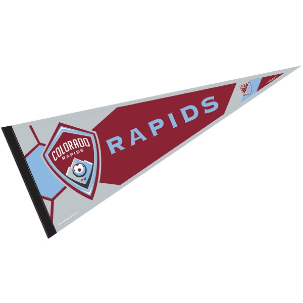 Colorado Rapids Pennant is our Full Size MLS soccer team pennant which measures 12x30 inches, is made of felt, and is single sided screen printed. Our Colorado Rapids Pennant is perfect for showing your MLS team allegiance in any room of the house and is MLS licensed.
