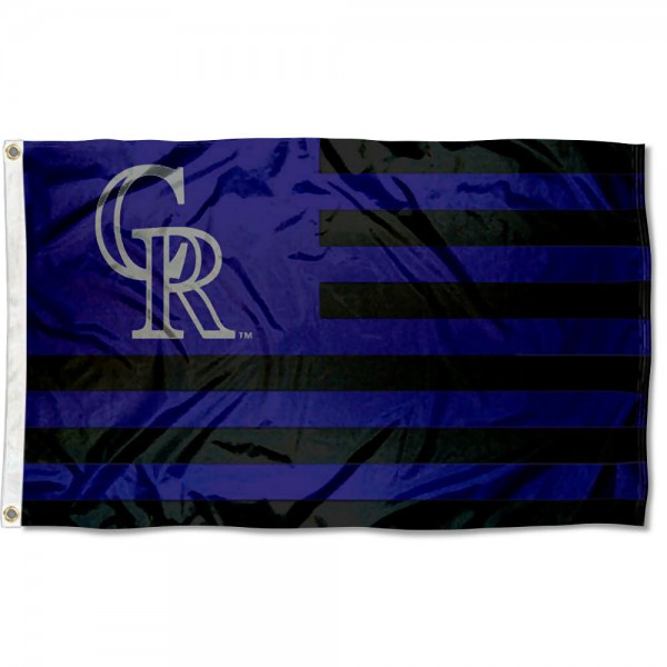 Colorado Rockies Americana Nation Flag measures 3x5 feet, is made of polyester, offers quad-stitched flyends, has two metal grommets, and is viewable from both sides with a reverse image on the opposite side. Our Colorado Rockies Americana Nation Flag is Genuine MLB Merchandise.
