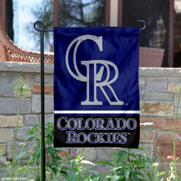 Colorado Rockies Garden Flag is 12.5x18 inches in size, is made of 2-ply polyester, and has two sided screen printed logos and lettering. Available with Express Next Day Shipping, our Colorado Rockies Garden Flag is MLB Genuine Merchandise and is double sided.