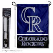 Colorado Rockies Logo Garden Flag and Stand