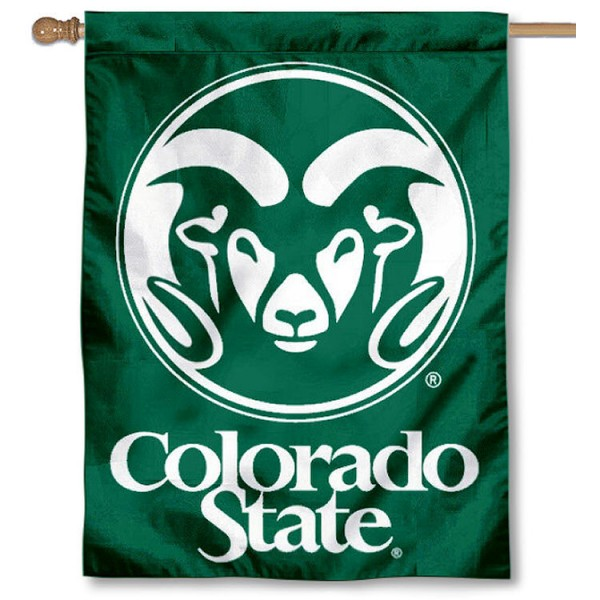 Colorado State CSU Rams Banner Flag is a vertical house flag which measures 30x40 inches, is made of 2 ply 100% polyester, offers dye sublimated NCAA team insignias, and has a top pole sleeve to hang vertically. Our Colorado State CSU Rams Banner Flag is officially licensed by the selected university and the NCAA.