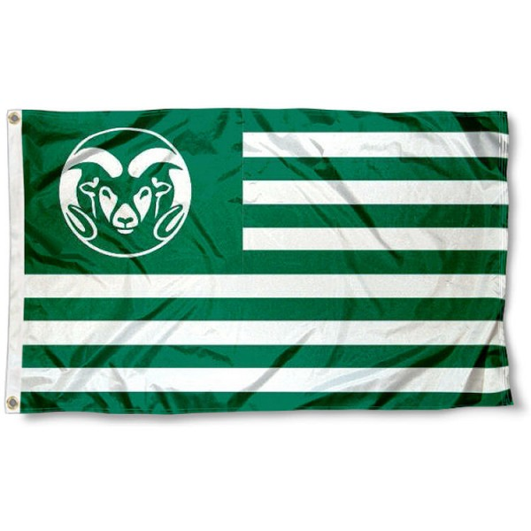 Colorado State CSU Rams Stripes Flag measures 3'x5', is made of polyester, offers double stitched flyends for durability, has two metal grommets, and is viewable from both sides with a reverse image on the opposite side. Our Colorado State CSU Rams Stripes Flag is officially licensed by the selected school university and the NCAA.