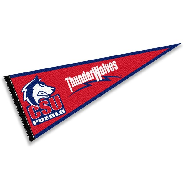 Colorado State Pueblo Thunderwolves Pennant consists of our full size sports pennant which measures 12x30 inches, is constructed of felt, is single sided imprinted, and offers a pennant sleeve for insertion of a pennant stick, if desired. This Colorado State Pueblo Thunderwolves Pennant Decorations is Officially Licensed by the selected university and the NCAA.