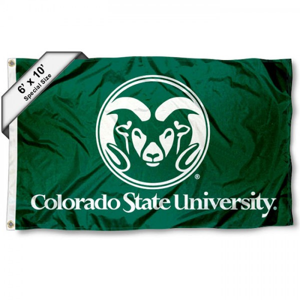 Colorado State Rams 6'x10' Flag measures 6x10 feet, is made of thick poly, has quadruple-stitched fly ends, and Colorado State Rams logos are screen printed into the Colorado State Rams 6'x10' Flag. This Colorado State Rams 6'x10' Flag is officially licensed by and the NCAA.