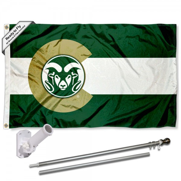 Our Colorado State Rams CO State Flag Pole and Bracket Kit includes the flag as shown and the recommended flagpole and flag bracket. The flag is made of polyester, has quad-stitched flyends, and the NCAA Licensed team logos are double sided screen printed. The flagpole and bracket are made of rust proof aluminum and includes all hardware so this kit is ready to install and fly.