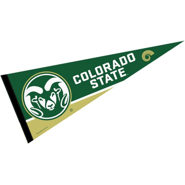 Colorado State Rams Decorations consists of our full size pennant which measures 12x30 inches, is constructed of felt, is single sided imprinted, and offers a pennant sleeve for insertion of a pennant stick, if desired. This Colorado State Rams Decorations is officially licensed by the selected university and the NCAA
