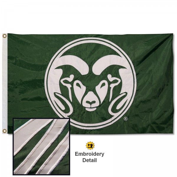 Colorado State Rams Nylon Embroidered Flag measures 3'x5', is made of 100% nylon, has quadruple flyends, two metal grommets, and has double sided appliqued and embroidered University logos. These Colorado State Rams 3x5 Flags are officially licensed by the selected university and the NCAA.