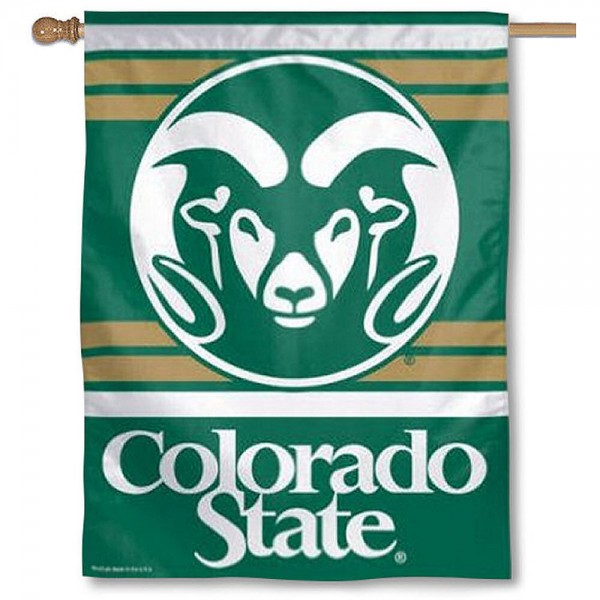 Colorado State Rams Polyester House Flag is constructed of polyester material, is a vertical house flag, measures 27x37 inches, offers screen printed NCAA team insignias, and has a top pole sleeve to hang vertically. Our Colorado State Rams Polyester House Flag is officially licensed by the selected university and NCAA.