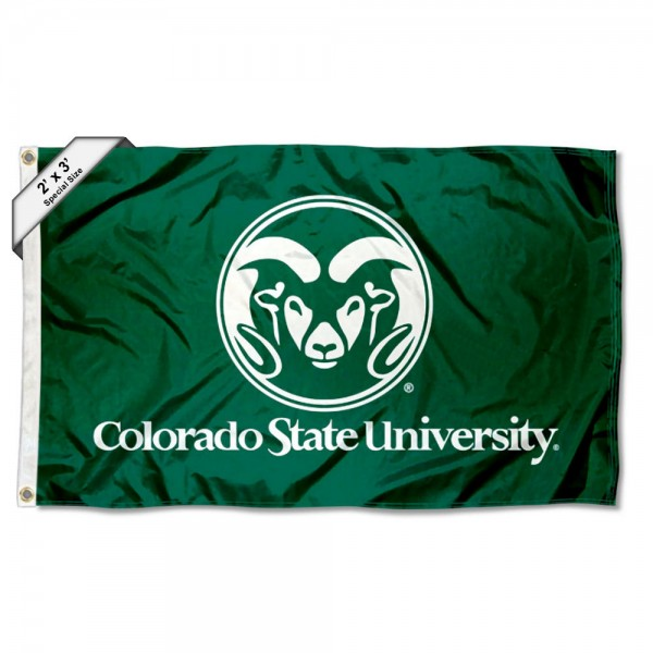 Colorado State Rams Small 2'x3' Flag measures 2x3 feet, is made of 100% polyester, offers quadruple stitched flyends, has two brass grommets, and offers printed Colorado State Rams logos, letters, and insignias. Our 2x3 foot flag is Officially Licensed by the selected university.